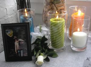 Memory candle, picture, and white rose for my dad <3